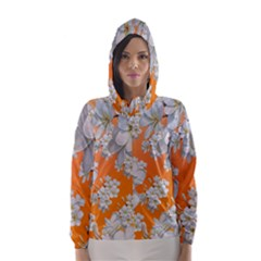 Flowers Background Backdrop Floral Hooded Wind Breaker (women)