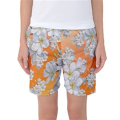 Flowers Background Backdrop Floral Women s Basketball Shorts