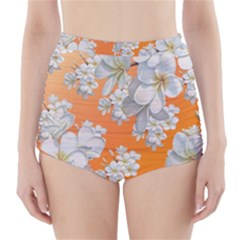 Flowers Background Backdrop Floral High Waisted Bikini Bottoms