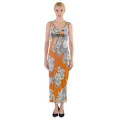 Flowers Background Backdrop Floral Fitted Maxi Dress