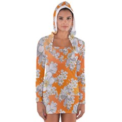 Flowers Background Backdrop Floral Women s Long Sleeve Hooded T Shirt
