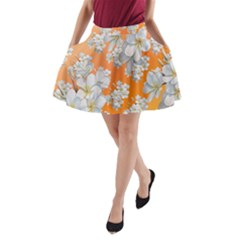 Flowers Background Backdrop Floral A Line Pocket Skirt