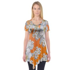 Flowers Background Backdrop Floral Short Sleeve Tunic