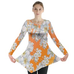 Flowers Background Backdrop Floral Long Sleeve Tunic