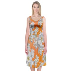 Flowers Background Backdrop Floral Midi Sleeveless Dress