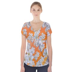 Flowers Background Backdrop Floral Short Sleeve Front Detail Top