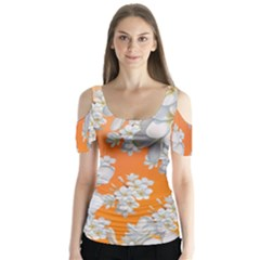 Flowers Background Backdrop Floral Butterfly Sleeve Cutout Tee