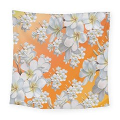 Flowers Background Backdrop Floral Square Tapestry (large)