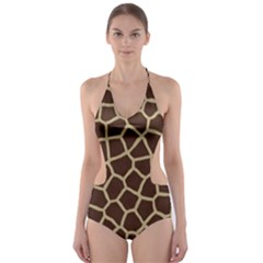 Giraffe Animal Print Skin Fur Cut Out One Piece Swimsuit