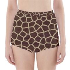 Giraffe Animal Print Skin Fur High Waisted Bikini Bottoms