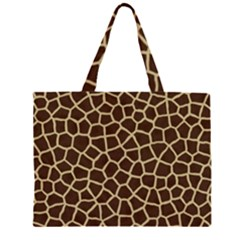 Giraffe Animal Print Skin Fur Zipper Large Tote Bag