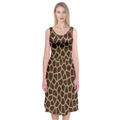 Giraffe Animal Print Skin Fur Midi Sleeveless Dress