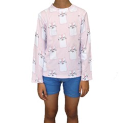 Pattern Cat Pink Cute Sweet Fur Kids  Long Sleeve Swimwear