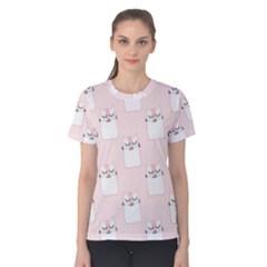 Pattern Cat Pink Cute Sweet Fur Women s Cotton Tee