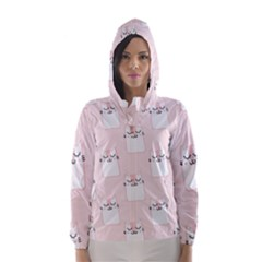 Pattern Cat Pink Cute Sweet Fur Hooded Wind Breaker (women)