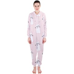 Pattern Cat Pink Cute Sweet Fur Hooded Jumpsuit (Ladies)