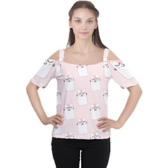 Pattern Cat Pink Cute Sweet Fur Women s Cutout Shoulder Tee