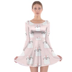 Pattern Cat Pink Cute Sweet Fur Long Sleeve Skater Dress