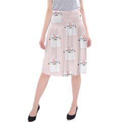 Pattern Cat Pink Cute Sweet Fur Midi Beach Skirt