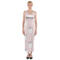 Pattern Cat Pink Cute Sweet Fur Fitted Maxi Dress