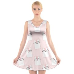 Pattern Cat Pink Cute Sweet Fur V Neck Sleeveless Skater Dress