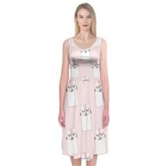 Pattern Cat Pink Cute Sweet Fur Midi Sleeveless Dress