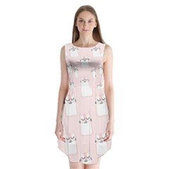 Pattern Cat Pink Cute Sweet Fur Sleeveless Chiffon Dress