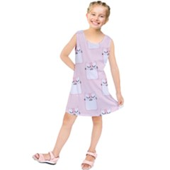 Pattern Cat Pink Cute Sweet Fur Kids  Tunic Dress