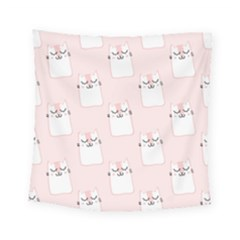 Pattern Cat Pink Cute Sweet Fur Square Tapestry (small)