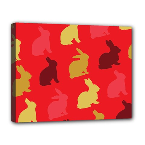 Hare Easter Pattern Animals Canvas 14  X 11