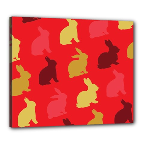 Hare Easter Pattern Animals Canvas 24  X 20
