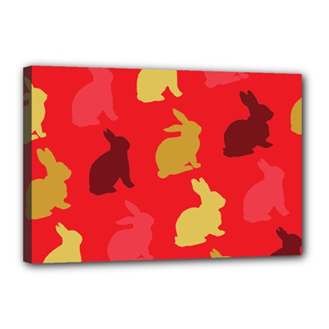 Hare Easter Pattern Animals Canvas 18  x 12