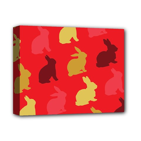 Hare Easter Pattern Animals Deluxe Canvas 14  X 11