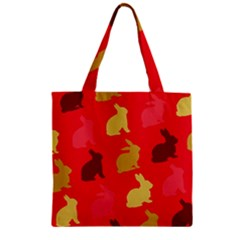 Hare Easter Pattern Animals Zipper Grocery Tote Bag