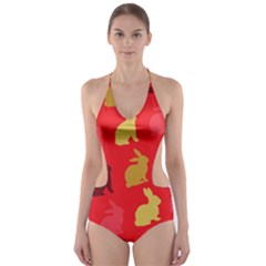 Hare Easter Pattern Animals Cut Out One Piece Swimsuit