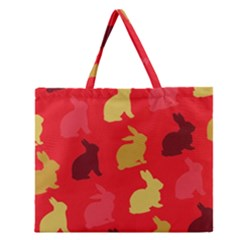 Hare Easter Pattern Animals Zipper Large Tote Bag