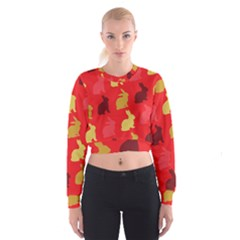 Hare Easter Pattern Animals Women s Cropped Sweatshirt
