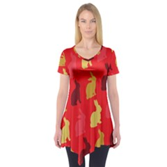 Hare Easter Pattern Animals Short Sleeve Tunic
