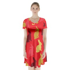 Hare Easter Pattern Animals Short Sleeve V-neck Flare Dress