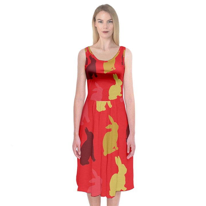 Hare Easter Pattern Animals Midi Sleeveless Dress