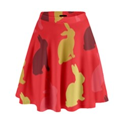 Hare Easter Pattern Animals High Waist Skirt