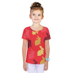 Hare Easter Pattern Animals Kids  One Piece Tee
