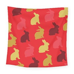 Hare Easter Pattern Animals Square Tapestry (large)