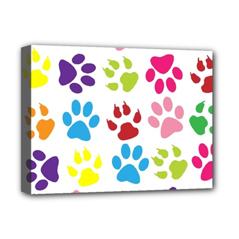 Paw Print Paw Prints Background Deluxe Canvas 16  X 12