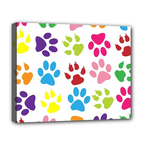 Paw Print Paw Prints Background Deluxe Canvas 20  X 16