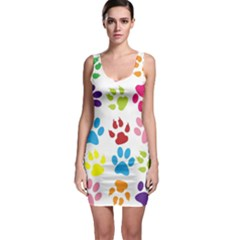 Paw Print Paw Prints Background Sleeveless Bodycon Dress