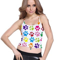 Paw Print Paw Prints Background Spaghetti Strap Bra Top