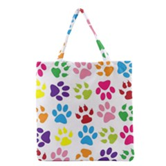 Paw Print Paw Prints Background Grocery Tote Bag