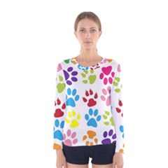 Paw Print Paw Prints Background Women s Long Sleeve Tee