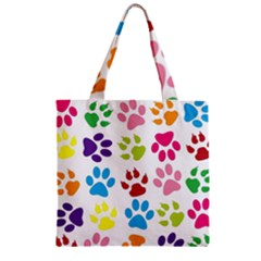 Paw Print Paw Prints Background Zipper Grocery Tote Bag